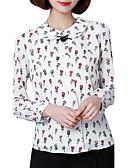 preiswerte Bluse-Damen Blumen Arbeit Übergrössen Bluse, Peter Pan-Kragen Polyester