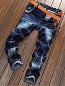 baratos Calças e Shorts Masculinos-Homens Algodão Delgado Reto Jeans Calças - Sólido