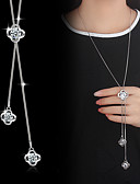 cheap Women's Shirts-Lariat Pendant Necklace Y Necklace Long Necklace Cubic Zirconia Silver Plated Flower Ladies Basic Fashion Bling Bling Silver Necklace Jewelry For Wedding Party Special Occasion Birthday Engagement