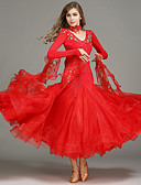 cheap Ballroom Dance Wear-Ballroom Dance Dresses Tops Women's Training Spandex Tulle Sequined Sequin Crystals / Rhinestones Sleeveless Natural