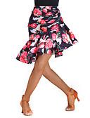 رخيصةأون القمصان وملابس النوم-الرقص اللاتيني بنطلونات وفساتين نسائي سباندكس / نايلون نموذج / طباعة / طيات ارتفاع متوسط تنانير