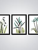 رخيصةأون قمصان نسائية-الطباعة مطبوعات قماش رغم الضغوط - تجريدي الأزهار / النباتية الحديث ثلاث لوحات