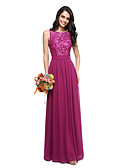 cheap Bridesmaid Dresses-A-Line Jewel Neck Floor Length Chiffon / Lace Bodice Bridesmaid Dress with Sash / Ribbon by LAN TING BRIDE® / Beautiful Back