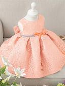 baratos Vestidos para Bebês-bebê Menina de Vestido Festa Floral Todas as Estações Poliéster Manga Curta Roupas de Festa Laço Branco Rosa claro