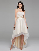 cheap Wedding Dresses-A-Line Sweetheart Neckline Asymmetrical Satin / Floral Lace Made-To-Measure Wedding Dresses with Bowknot / Beading / Sash / Ribbon by LAN