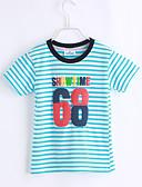 billige Topper til damer-Gutt Daglig T-skjorte Stripet Bomull Sommer Kortermet Blå