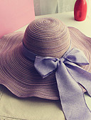 cheap Fashion Hats-Women's Holiday Outdoor Straw Hat Sun Hat - Solid Colored Bow