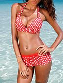 abordables Biquinis y Bañadores para Mujer-Mujer Tallas Grandes Bikini - Estampado, A Lunares Pierna de niño Halter