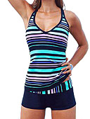 cheap Women's Swimwear & Bikinis-Women's Plus Size Sporty Halter Neck Blue Boy Leg Tankini Swimwear - Striped Print XL XXL XXXL