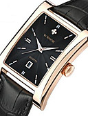 cheap Leather Band Watches-WWOOR Men's Wrist Watch Calendar / date / day / Cool Leather Band Casual / Fashion Black / Brown