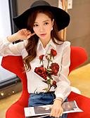 hesapli Kadın Üst Giyim-Kadın's Karpuz Kol Gömlek Yaka Bluz Dantelli,Çiçekli Zıt Renkli Sevimli sofistike Boho