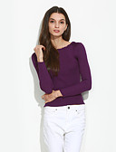 cheap Women's Sweaters-Women's Going out Long Sleeve Cotton Pullover - Solid Colored Boat Neck / Spring / Fall