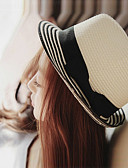baratos Chapéus Femininos-Mulheres Férias Coco / De Palha / Chapéu de sol Sólido / Fofo / Verão