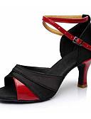 levne Kostýmy na standard-Dámské Boty na latinskoamerické tance Koženka / Látka Sandály / Podpatky Přezky Kubánský Obyčejné Taneční boty Černá a zlatá / Černá a