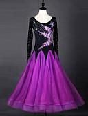 hesapli Latin Dans Giysileri-Balo Dansı Elbiseler Kadın's Performans ChinIon / Organze Kristaller / Yapay Elmaslar Uzun Kollu Elbise