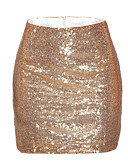 cheap Women's Skirts-Women's Bodycon Skirts - Solid Colored, Sequins