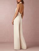 abordables Pantalones para Mujer-Mujer Mono Un Color Tiro Alto Perneras anchas Halter