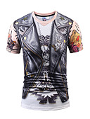 זול מכנסיים ושורטים לגברים-צווארון עגול רזה פעיל / סגנון רחוב / פאנק & גותיות Party / ספורט / מועדונים טישרט - בגדי ריקוד גברים דפוס / שרוולים קצרים
