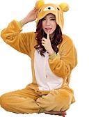 cheap Women's Hats-Adults' Kigurumi Pajamas Bear Onesie Pajamas Coral fleece Yellow Cosplay For Men and Women Animal Sleepwear Cartoon Festival / Holiday Costumes