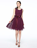 cheap Wedding Veils-A-Line Scoop Neck Short / Mini Chiffon / Satin Bridesmaid Dress with Bow(s) / Sash / Ribbon / Pleats by LAN TING BRIDE®