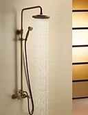 tanie Koszula-Bateria Prysznicowa - Antyczny Mosiądz antyczny Budowa prysznica Zawór ceramiczny / Dwa uchwyty trzy otwory