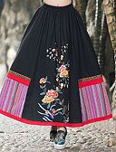 cheap Women's Skirts-Holiday / Going out Chinoiserie Cotton A Line Skirts - Floral / Rainbow Print