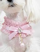 preiswerte Modische Uhren-Katze Hund Halsbänder Modisch Schleife Spitze Stoff Schwarz Rosa