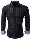 cheap Men's Shirts-Men's Cotton Shirt - Color Block / Long Sleeve