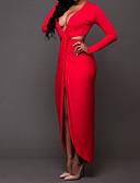 رخيصةأون فساتين للنساء-أحمر طويل للأرض رقبة V سادة - فستان غمد ذهاب للخارج للمرأة
