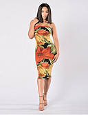 cheap Women's Dresses-Women's Going out Bodycon Dress Floral Style High Rise Off Shoulder / Summer / Floral Patterns