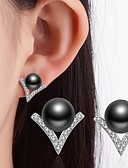 cheap Evening Dresses-Women's Cubic Zirconia Stud Earrings - Imitation Pearl, Rhinestone, Black Pearl Classic White / Black For Wedding / Party / Special Occasion