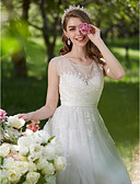 baratos Vestidos de Casamento-Linha A Ilusão Decote Cauda Escova Renda / Tule Vestidos de casamento feitos à medida com Miçangas / Apliques de LAN TING BRIDE®