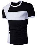 baratos Camisetas & Regatas Masculinas-Homens Camiseta - Esportes Activo Patchwork, Estampa Colorida Algodão Decote Redondo Delgado / Manga Curta