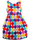 tanie Sukienki dla dziewczynek-Brzdąc Kropka Groszki Bez rękawów Bawełna Sukienka Tęczowy