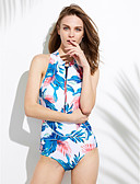 cheap One-piece swimsuits-Women's Floral Halter Neck Green One-piece Swimwear - Floral L XL XXL Green