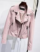 baratos Jaquetas Bomber Femininas-Mulheres Curto Jaquetas de Couro Diário Para Noite Simples Casual Primavera Outono, Sólido Poliuretano Colarinho de Camisa