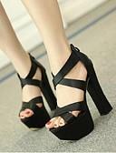 abordables Vestidos de cóctel-Mujer Zapatos PU Gladiador Tacones Tacón Cuadrado Blanco / Negro