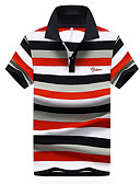 cheap Men's Polos-Men's Active Street chic Plus Size Cotton Polo - Solid Colored Striped Shirt Collar