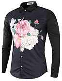 זול חולצות לגברים-משובץ דמקה צווארון קלאסי סגנון סיני כותנה, חולצה - בגדי ריקוד גברים