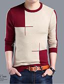 tanie Męskie swetry i swetry rozpinane-Męskie Wełna Weekend Okrągły dekolt Flare rękawem Kaszmirowy Żakard Długi rękaw