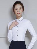 preiswerte Bluse-Damen Solide - Einfach Arbeit Baumwolle Hemd, Hemdkragen Spitze Lantern Sleeve / Frühling / Herbst