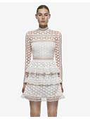 baratos Vestidos de Mulher-Mulheres Clássico Renda Calças - Côr Sólida Estilo Artístico Cintura Alta Branco / Colarinho Chinês