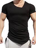 billige T-skjorter og singleter til herrer-Bomull Tynn Rund hals T-skjorte Herre - Helfarge, Trykt mønster Sport / Kortermet