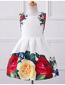 hesapli Çiçekçi Kız Elbiseleri-Kız Günlük Polyester Çiçekli Yaz Kolsuz Elbise Çiçek Beyaz