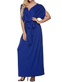 baratos Vestidos Longos-Mulheres Tamanhos Grandes Para Noite Bainha Vestido Sólido Decote V Longo Azul