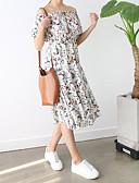 tanie Sukienki-Damskie Rozmiar plus Wyjściowe Moda miejska Pochwa Sukienka - Kwiaty Łódeczka Wysoki stan Midi / Lato