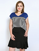 cheap Women's Dresses-Women's Plus Size Vintage / Street chic Cotton A Line / Sheath / T Shirt Dress - Striped / Color Block Ruffle V Neck