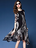 cheap Women's Blouses-Women's Going out / Beach Street chic Silk Loose Dress Print Asymmetrical