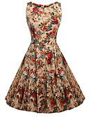 cheap Women's Dresses-Women's Holiday / Going out Vintage / Street chic Cotton Swing Dress - Floral High Rise / Summer