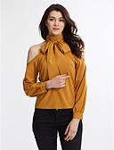 abordables Camisas para Mujer-Mujer Casual Chic de Calle Diario Trabajo Todas las Temporadas Camisa, Cuello Alto Un Color Manga Larga Algodón